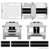 "Front and rear view of 10"" stripes on a Chevy Colorado"