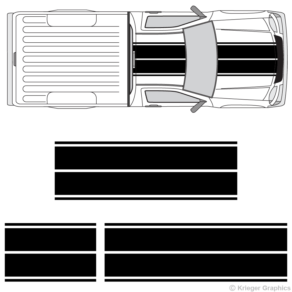 Top view of dual rally stripes on a Chevy Colorado