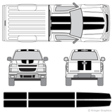 Front and rear view of EZ rally stripes on a Chevy Colorado