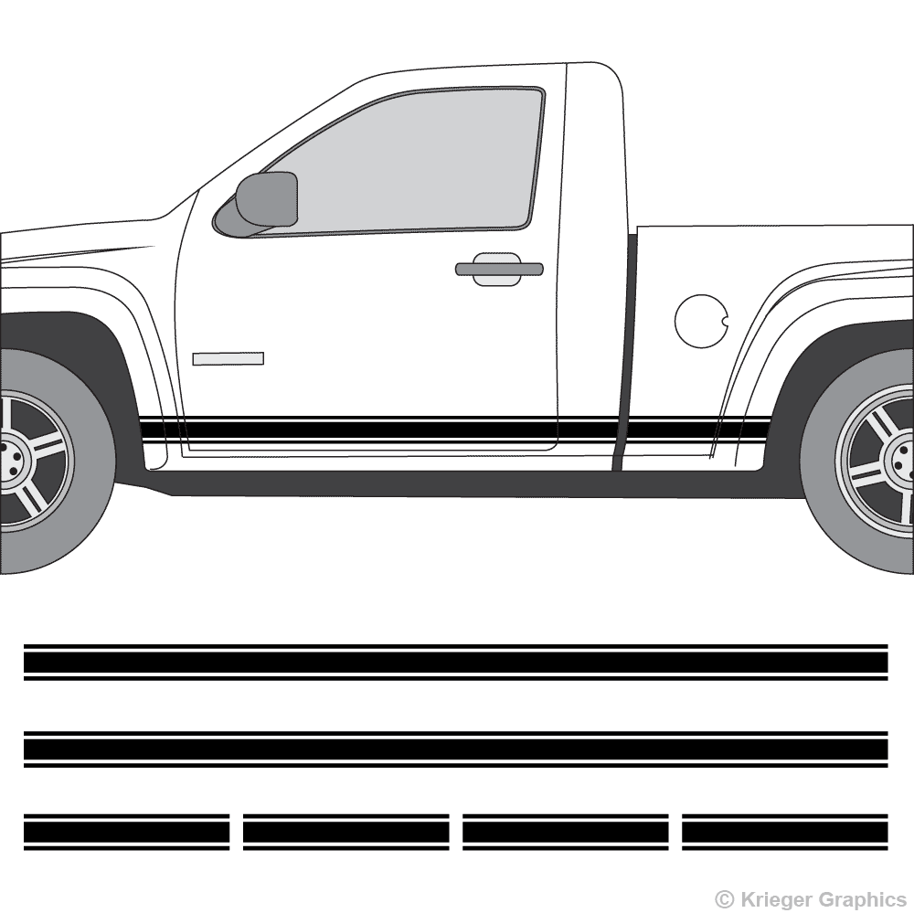 Driver's side view of rocker stripes on a Chevy Colorado