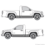 Both side views of rocker stripes on a Chevy Colorado