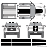 Front and rear view of EZ rally stripes on a Ford F-150