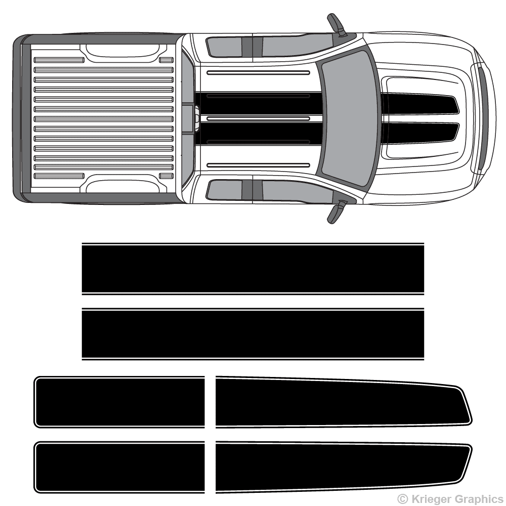 Top view of EZ rally stripes on a Ford F-150