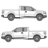 Both side views of faded rocker stripes on a Ford F-150