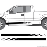 Driver's side view of faded rocker stripes on a Ford F-150