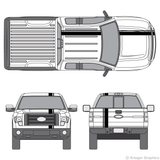Front and rear view of offset stripes on a Ford F-150