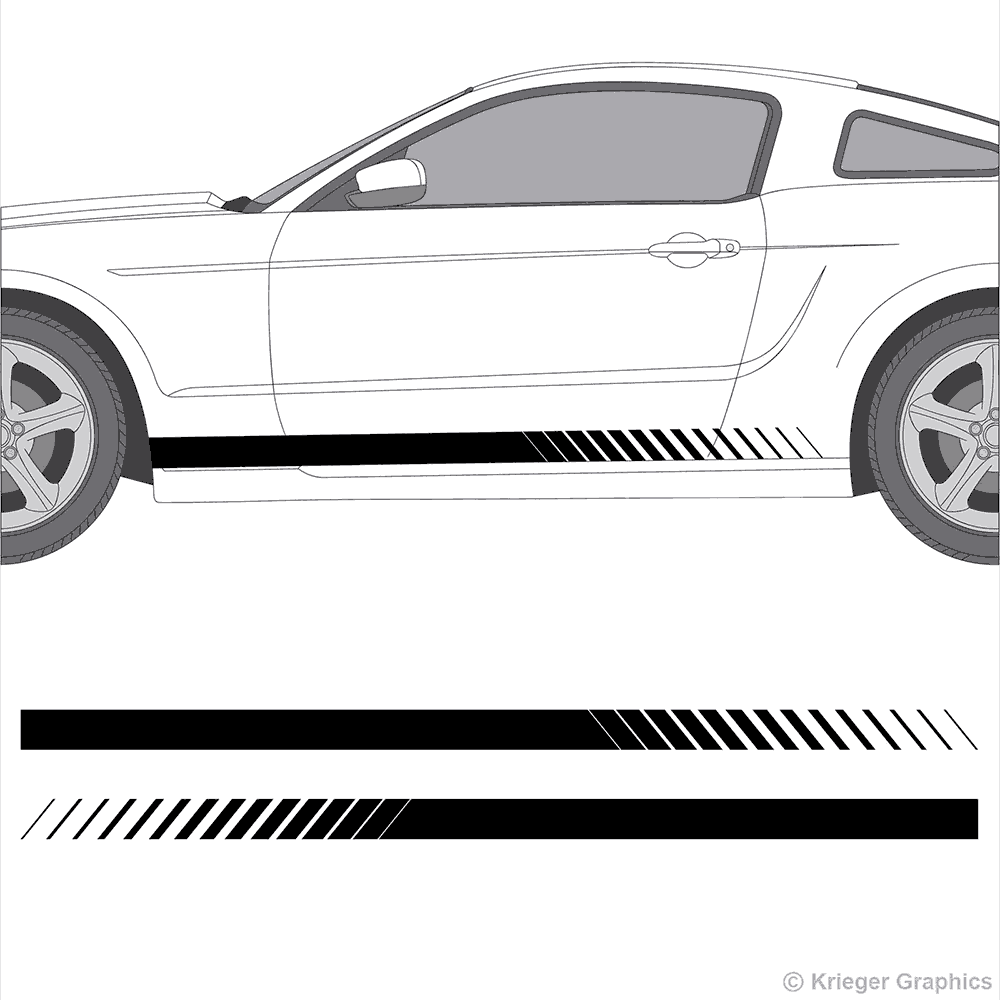 Illustration of Faded Rocker Panel Stripes on a car.