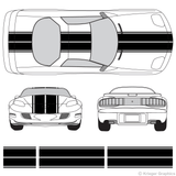 Front and rear view of dual rally stripes on a Pontiac Firebird
