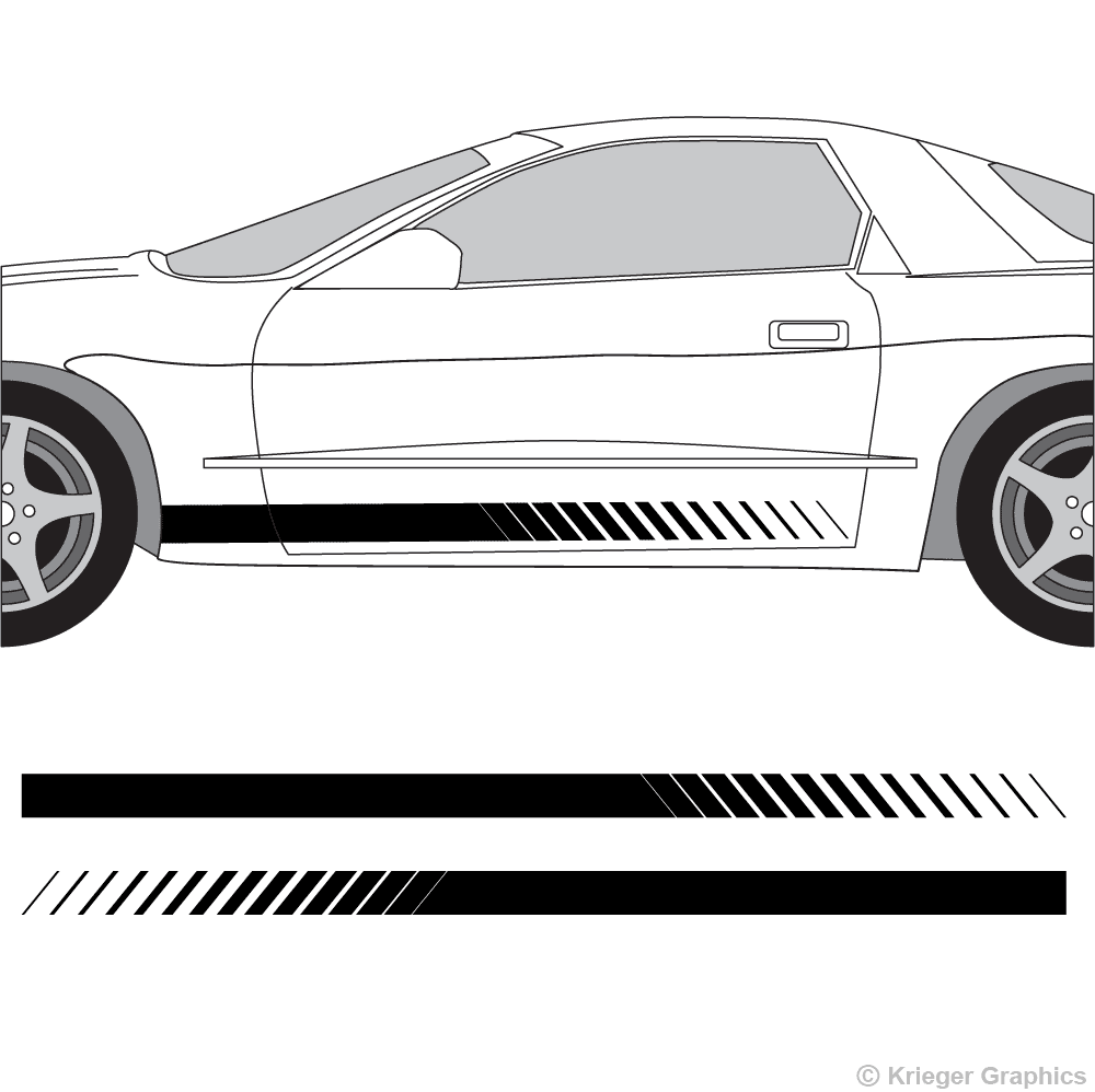 Driver's side view of faded rocker stripes on a Pontiac Firebird