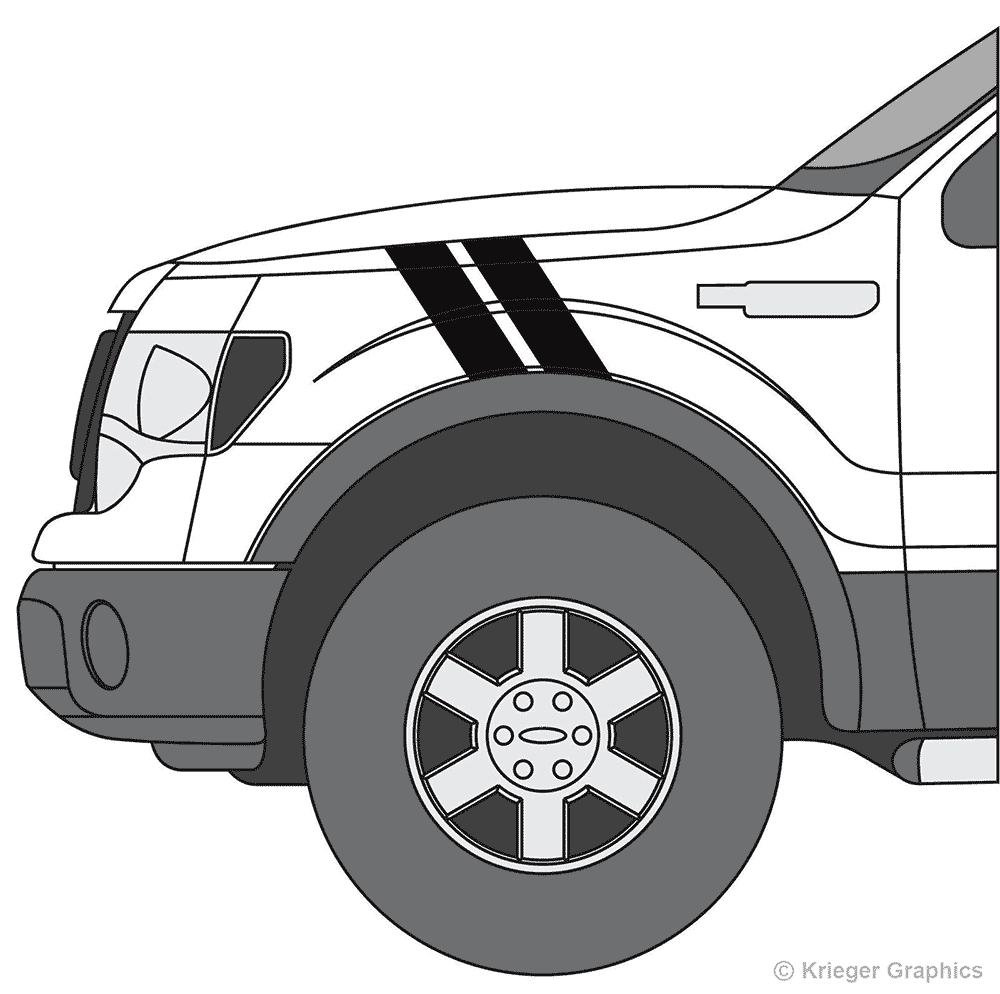 Driver's side view of hash mark stripes on a Ford F-150