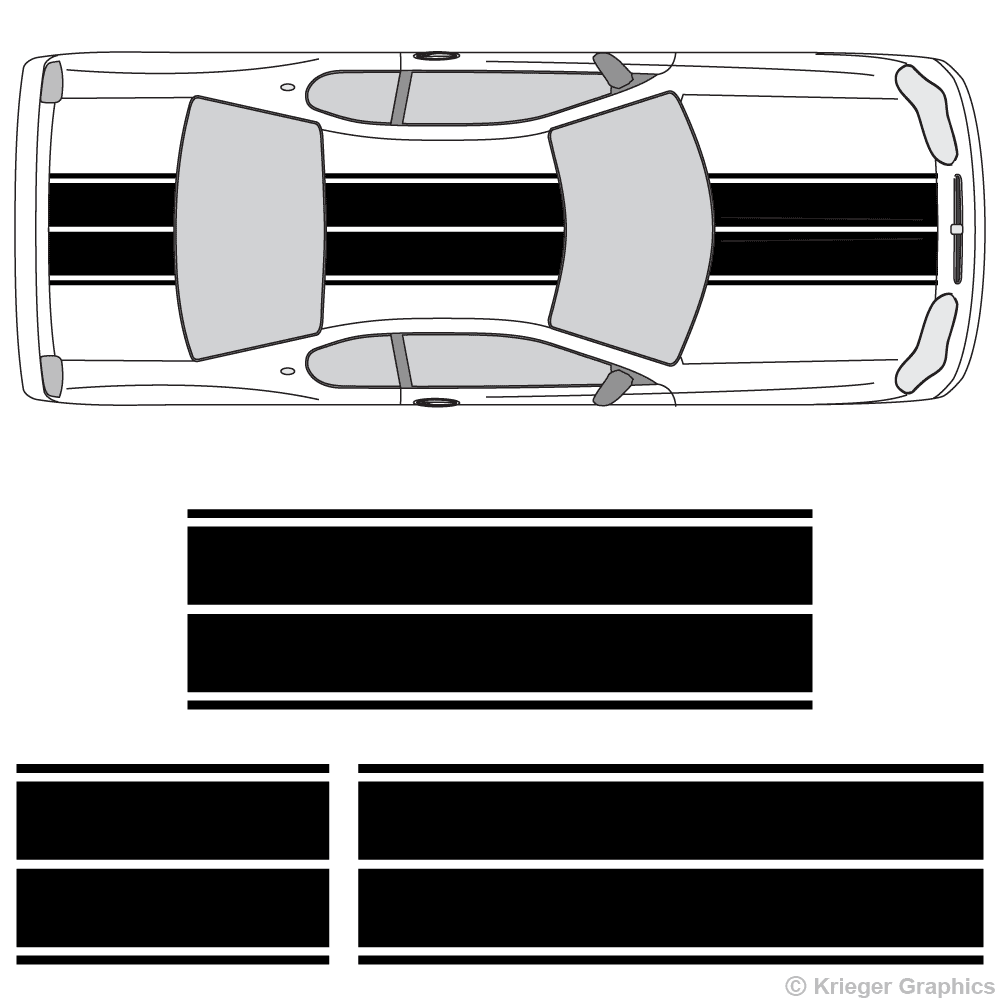 Top view of dual rally stripes on a Chevy Monte Carlo
