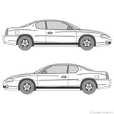 Both side views of rocker stripes on a Chevy Monte Carlo