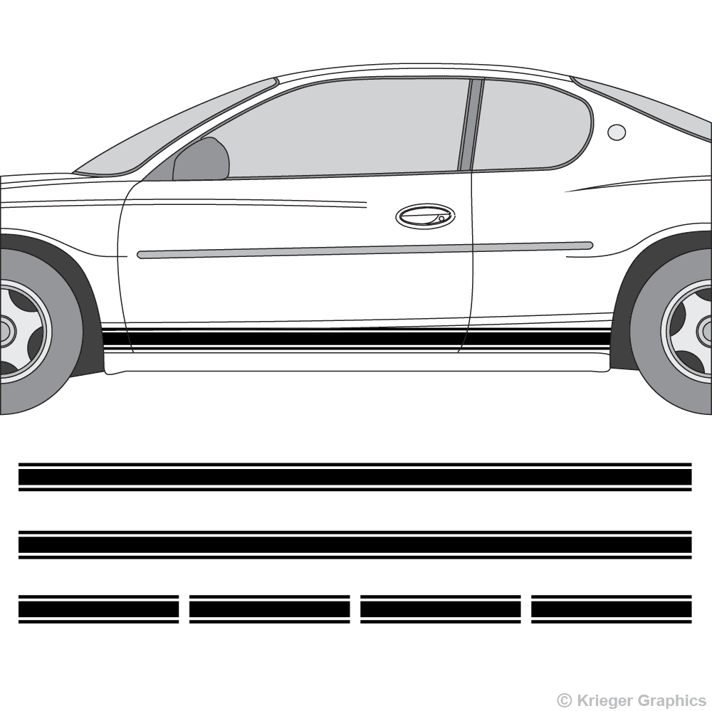 Driver's side view of rocker stripes on a Chevy Monte Carlo