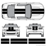 "Front and rear view of 10"" stripes on a new Ford Mustang"