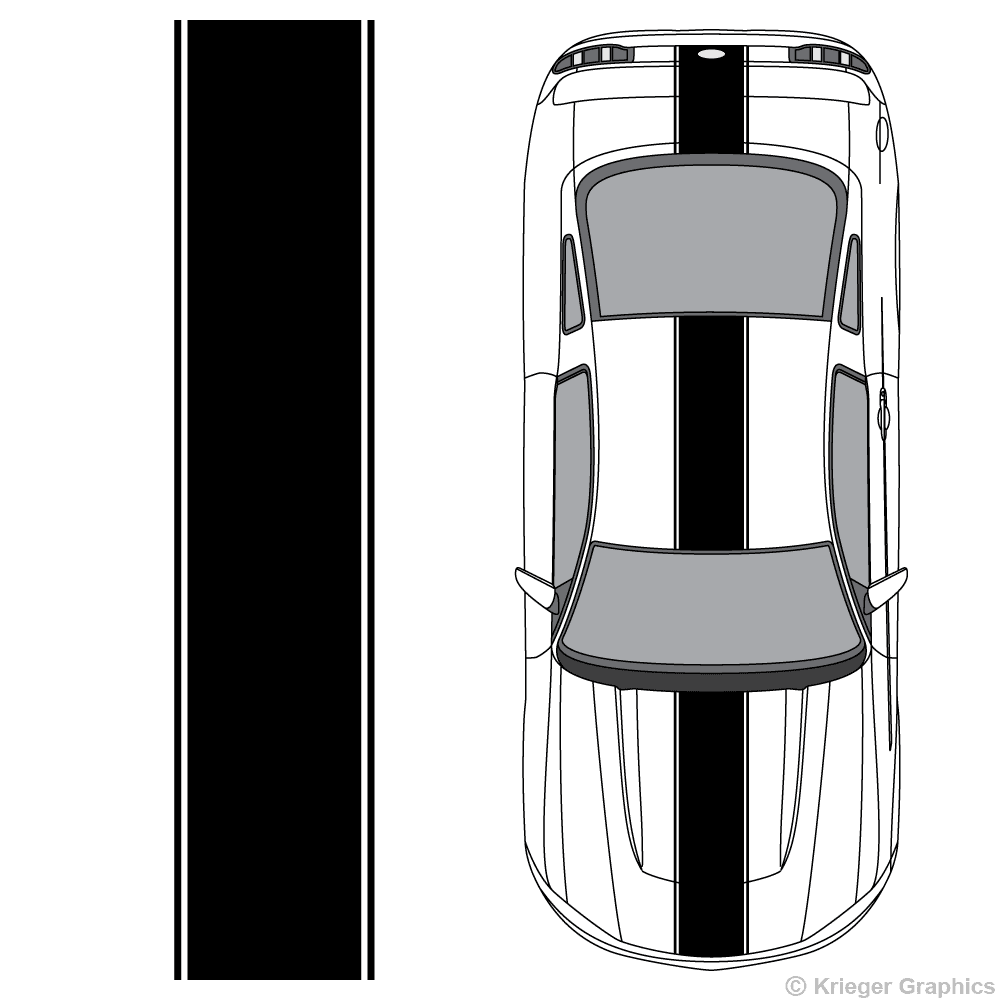 Top view of center stripes on a new Ford Mustang