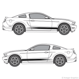 Both side views of faded rocker stripes on a new Ford Mustang