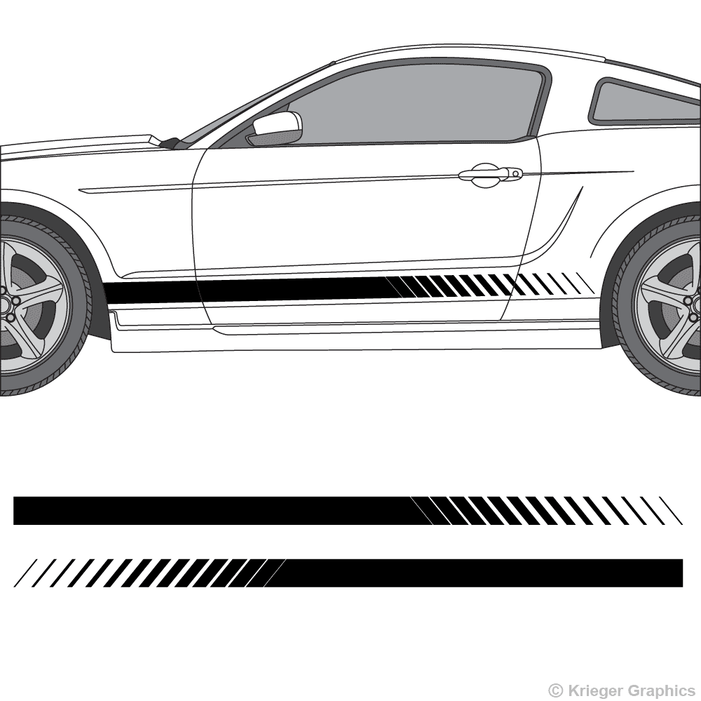Driver's side view of faded rocker stripes on a New Ford Mustang