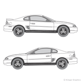 Both side views of faded rocker stripes on an old Ford Mustang