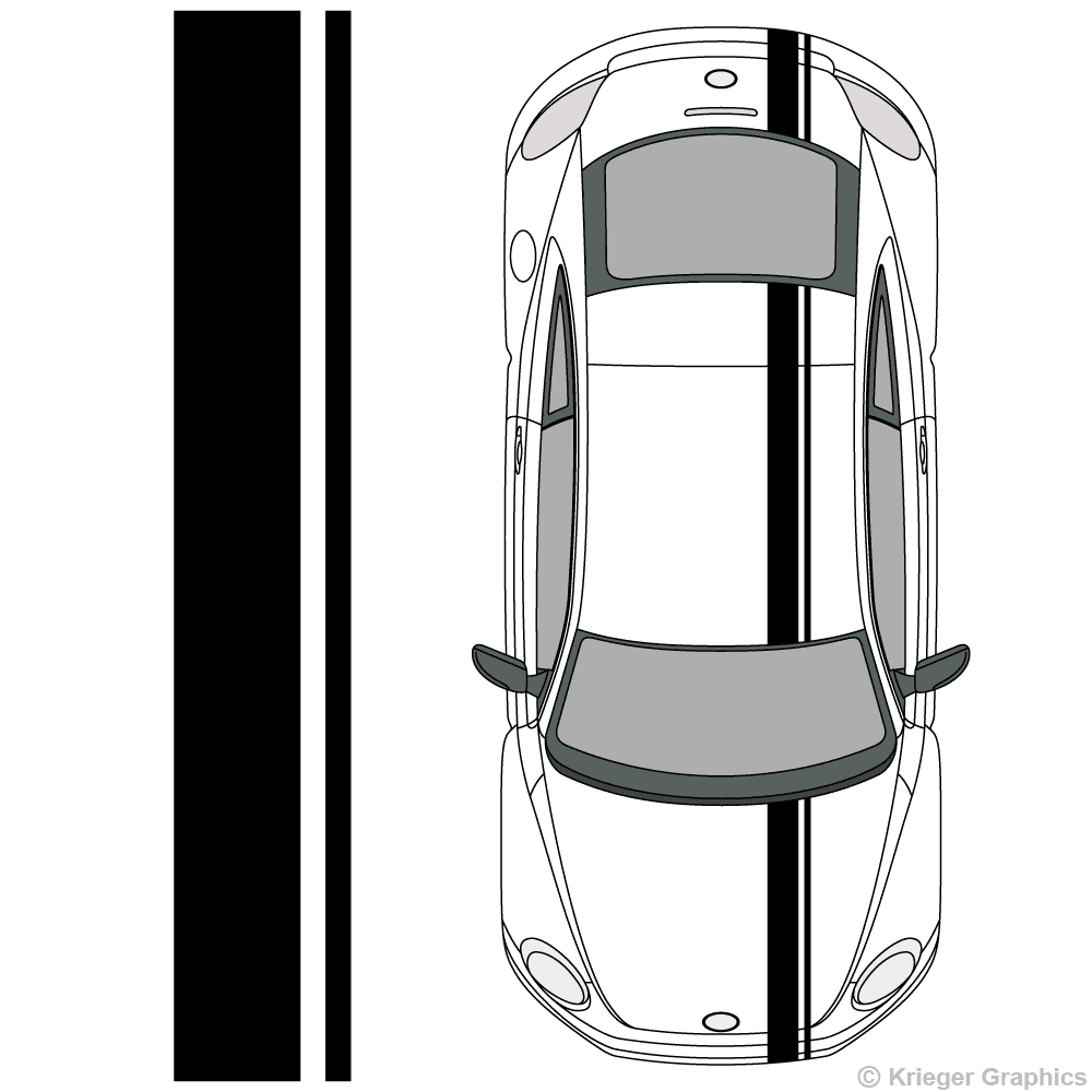 Top view of offset stripes on a NewVolkswagen Beetle