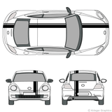Front and rear view of offset stripes on a new Volkswagen Beetle