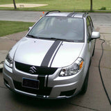 Photo of Offset Racing Stripes applied to the front of a car.