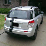 Photo of Offset Racing Stripes applied to the back of a car.