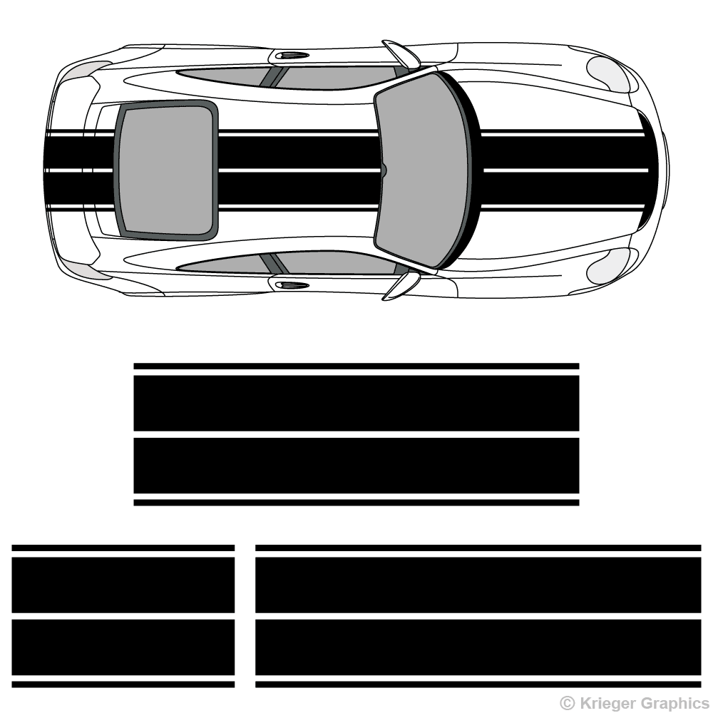 Top view of dual rally stripes on a Porsche 911