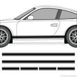 Driver's side view of rocker stripes on a Porsche 911