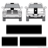 Front and rear view of center stripes on a Dodge Ram