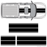 Top view of dual rally stripes on a Dodge Ram