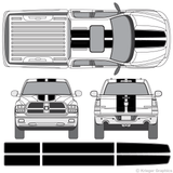 Front and rear view of EZ Rally stripes on a Dodge Ram