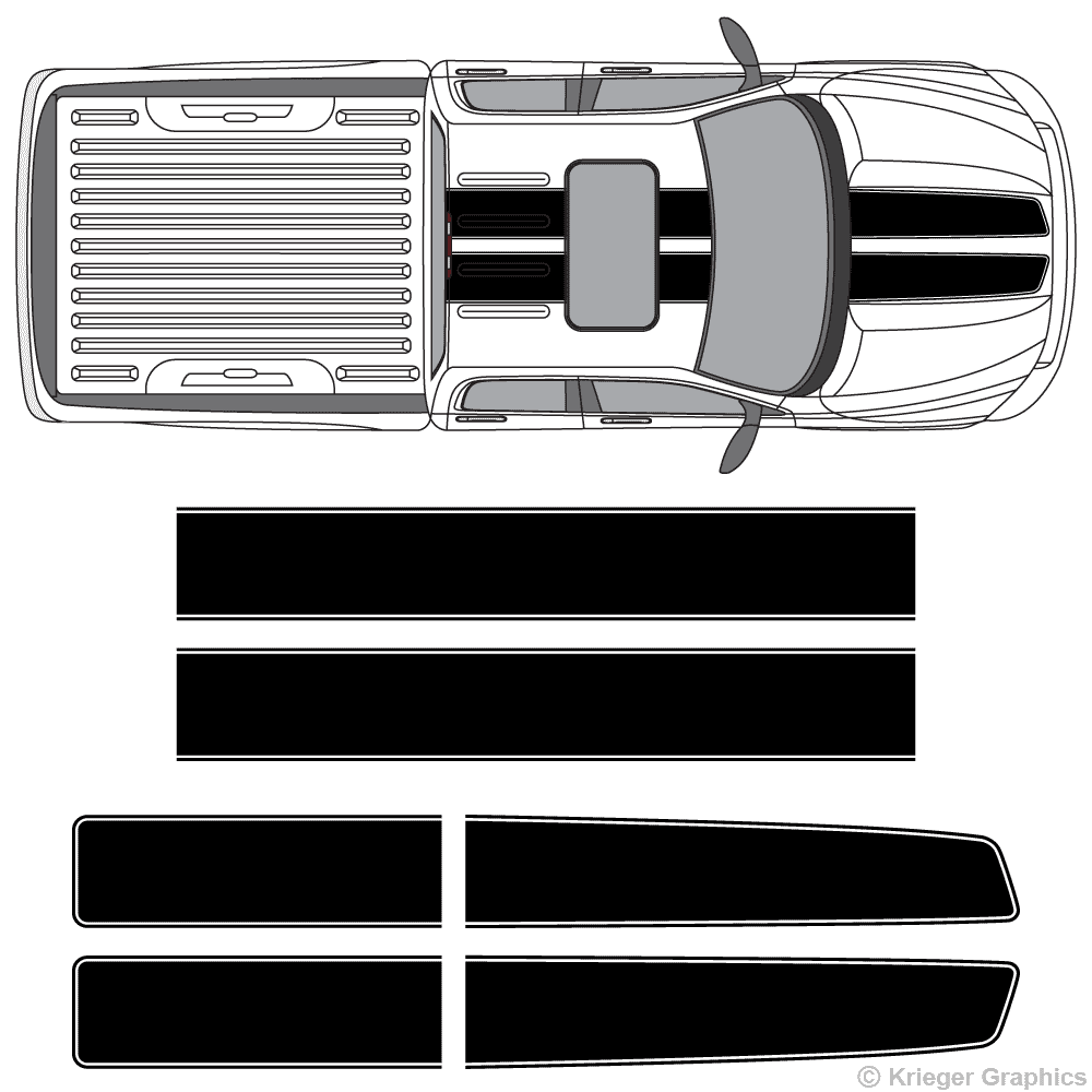 Top view of EZ rally stripes on a Dodge Ram