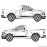 Both side views of faded rocker stripes on a Dodge Ram
