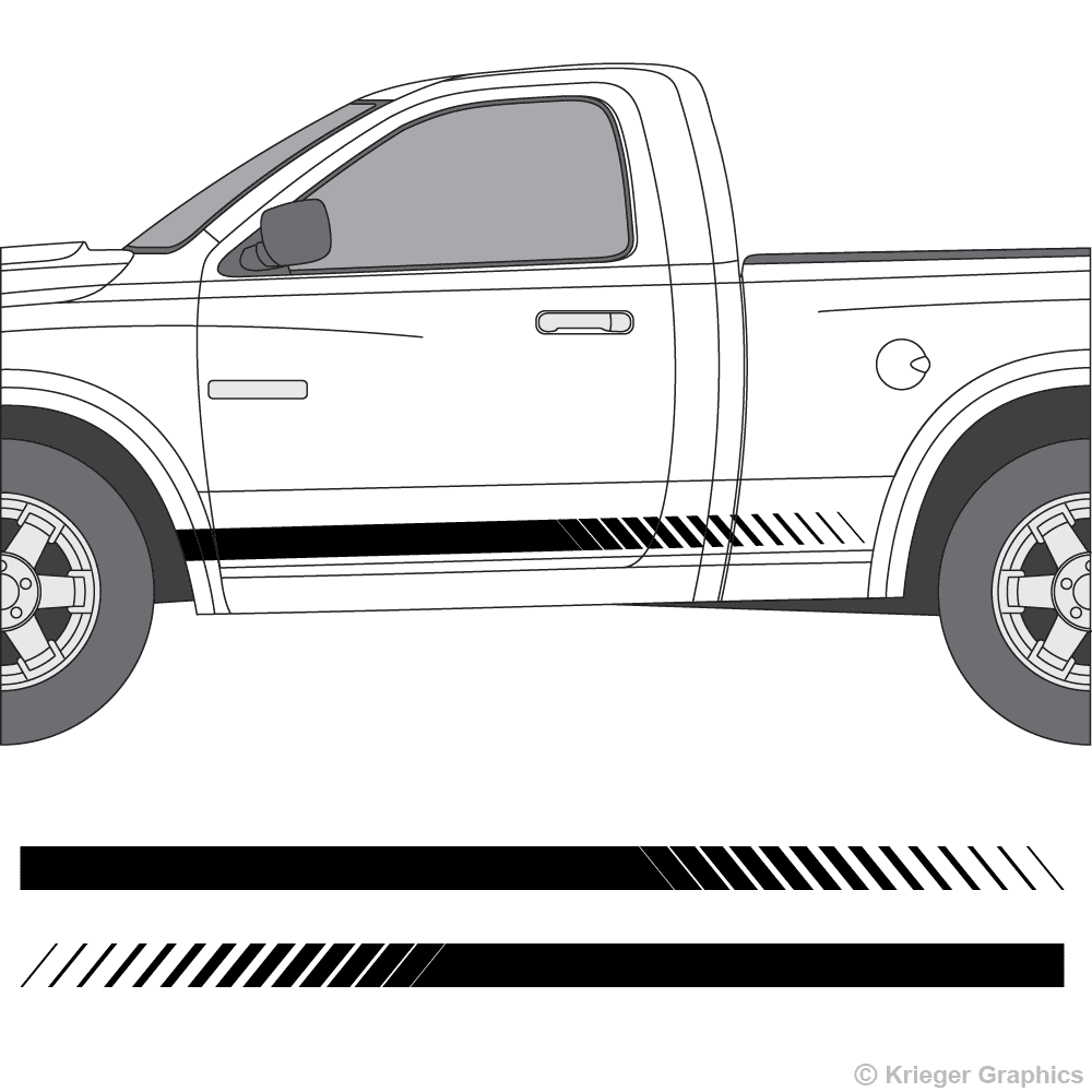 Driver's side view of faded rocker stripes on a Dodge Ram