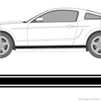 Illustration of Rocker Panel Stripes on a car.