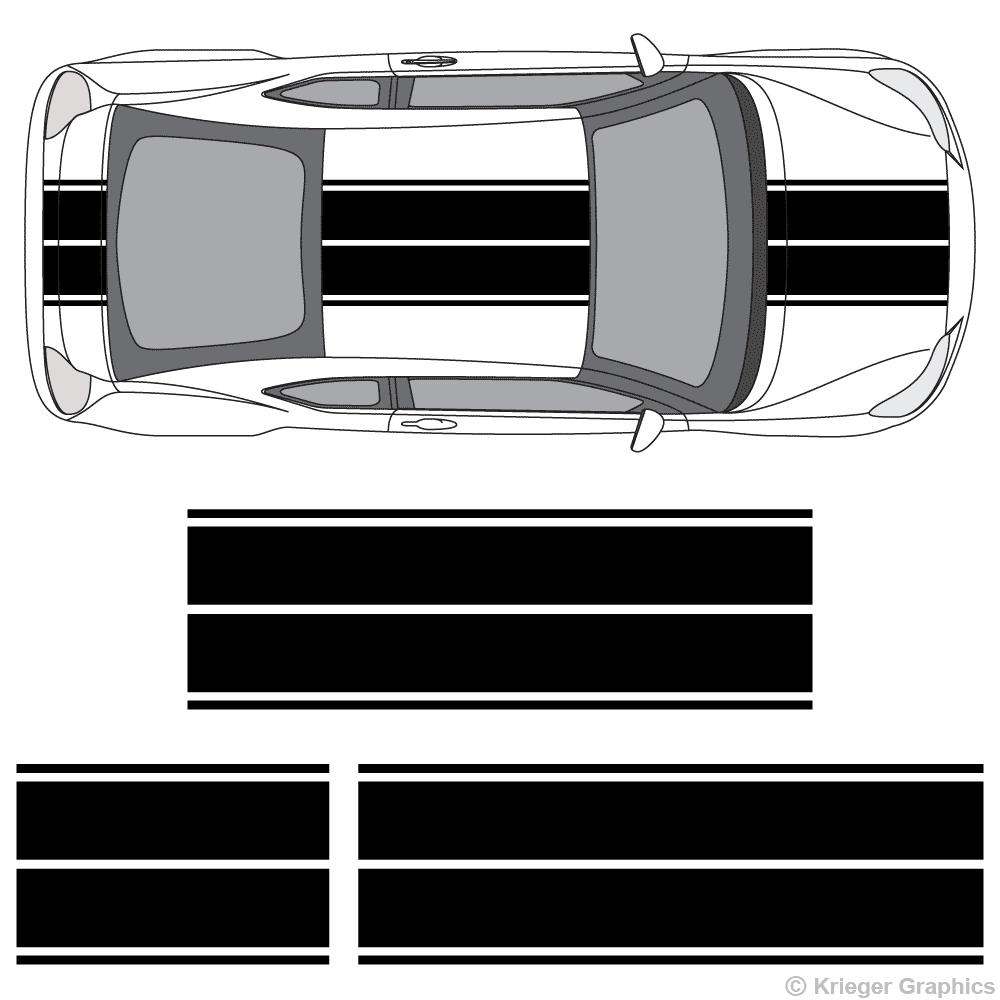 Top view of dual rally stripes on a Scion tC