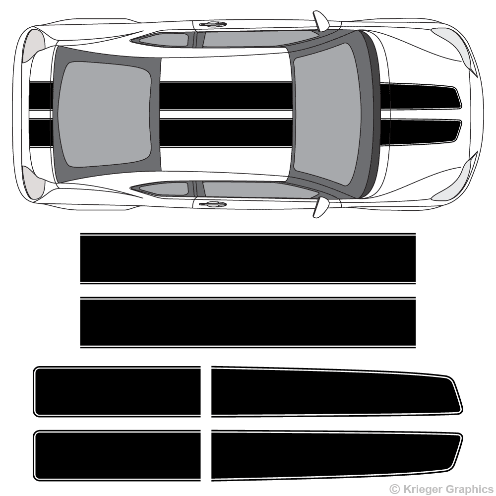 Top view of EZ Rally stripes on a Scion tC