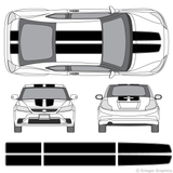 Front and rear view of EZ rally stripes on a Scion tC