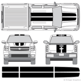 Front and rear view of EZ rally stripes on a Chevy Silverado