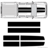 Top view of EZ rally stripes on a Chevy Silverado