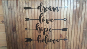 Arrow Text Dream, Hope, Love, Believe - Hersey Customs Inc.