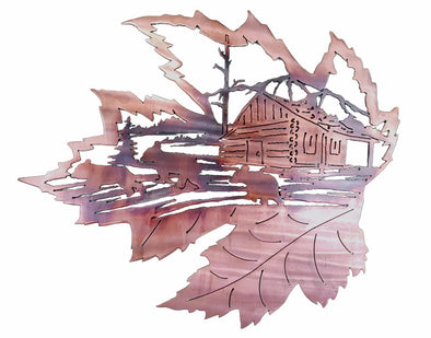 Large Leaf Bear and Cabin Scene