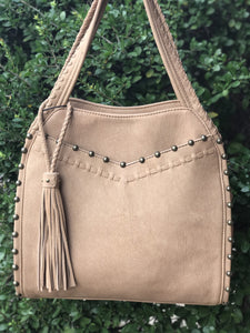 Western fringe purse in beige with metal studs