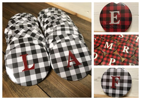 Monogrammed Buffalo Plaid Mirror- White