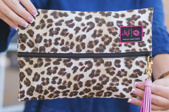 savannah leopard cheetah makeup junkie bags
