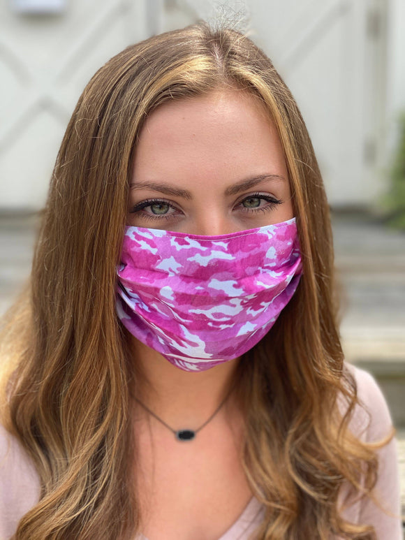 ADULT Pink Camo Face Mask