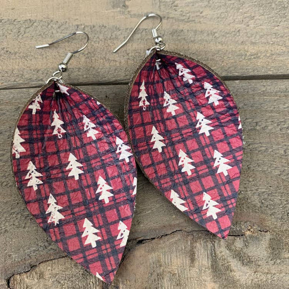 Black and Red Buffalo Plaid with Christmas Tree Earrings