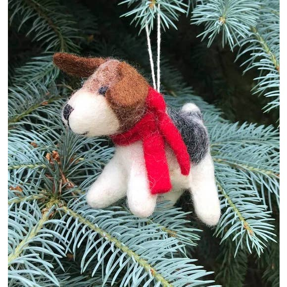 Ornament Dog W/ Red Scarf