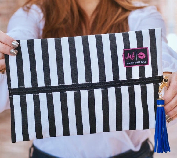 black and white stripe makeup junkie bag