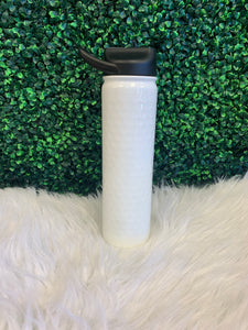 27 oz Stainless Steel Water Bottle - White Dimpled